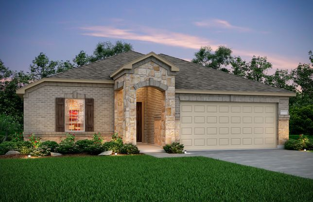 Exterior:Exterior Q - The Eastgate plan, a one-story home with 2-car garage