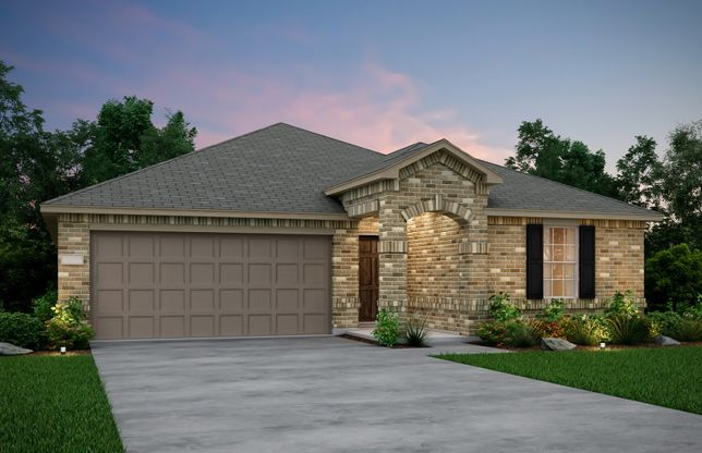 Exterior:Exterior D - The Killeen plan, a one-story home with 2-car garage