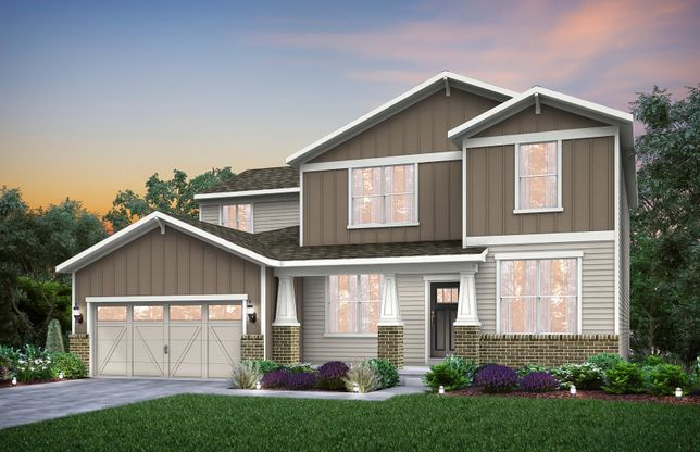 Exterior:Home Design CR2G | Elevation includes brick wainscot. See sales for details.