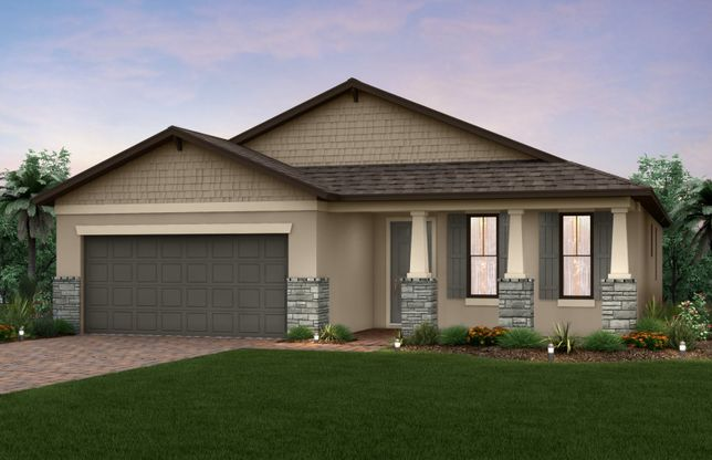 Canopy:The Canopy, a one-story family home with a 2 car garage, shown with Home Exterior C2A.