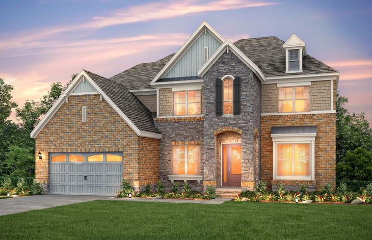 Exterior:Worthington Exterior 8 features Brick, Stone, Shakes and Covered Front Door