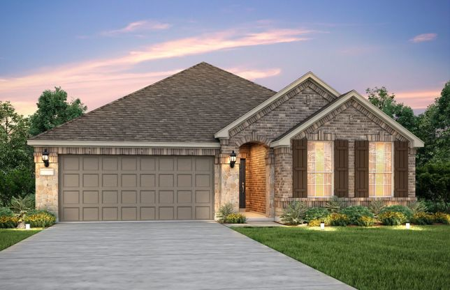 Exterior:The Arlington, a one-story home with 2-car garage, shown with Home Exterior B