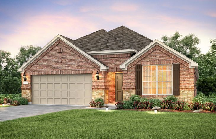 Exterior:The Sheldon, a one-story home with 2-car garage, shown with Home Exterior B