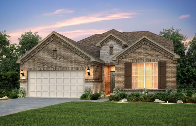 Exterior:The Mooreville, a two-story home with 2-car garage, shown with Home Exterior B