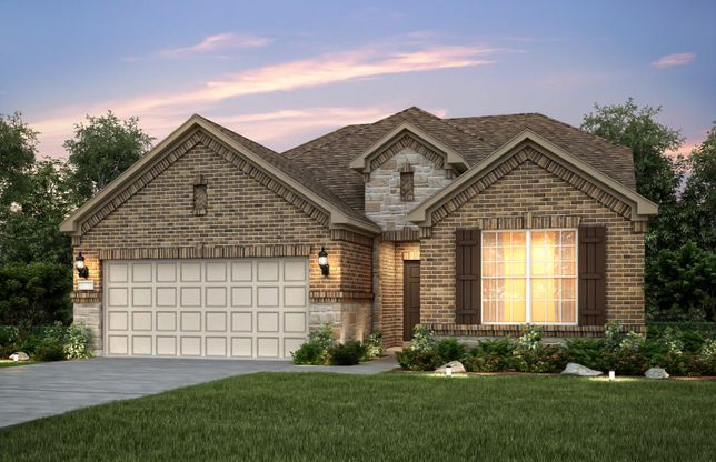 Exterior:Exterior B with stone accents, shutters, and a 2-car garage with storage space