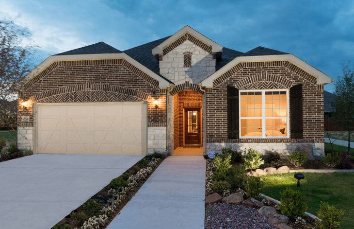 Exterior:The Mooreville, a two-story home with 2-car garage, shown with Home Exterior C