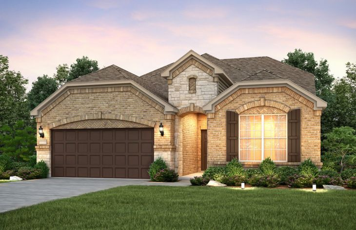 Exterior:The Mooreville, a two-story home with 2-car cedar garage, shown with Home Exterior C