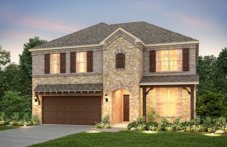 Exterior:The Caldwell, a two-story home with covered front porch and 2-car cedar garage, shown as Home Exterior D