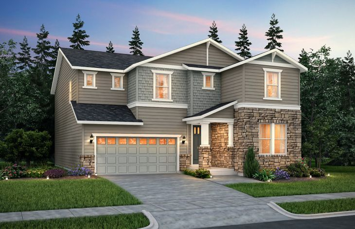 Exterior:The Quincy, a two-story single family home with a two-car garage shown in Exterior B.