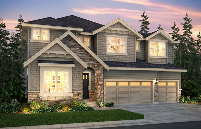 Exterior:The Davenport, a two-story single family home with a three-car garage shown in Exterior Home Design D.