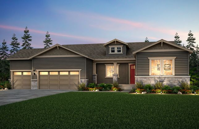 Voyage:The Voyage, a one-story single family home with a 3-car garage shown in exterior B.