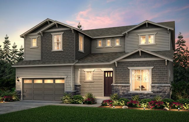 Exterior:The Venice, a two-story single family home with a 3-car garage shown in exterior B..