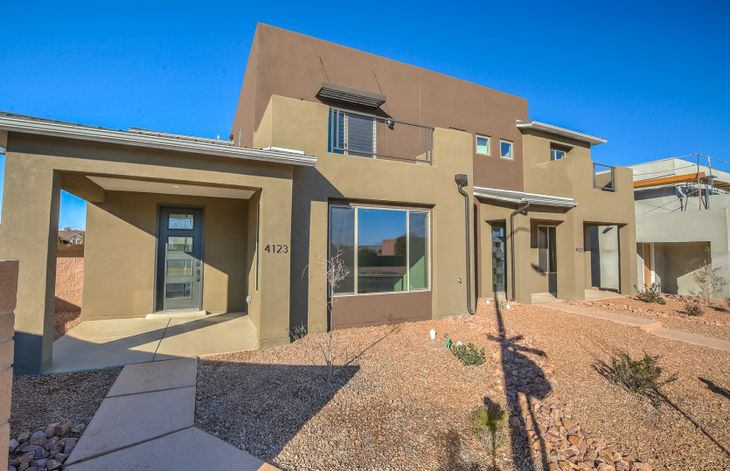 Exterior:Front yard of the new Saguaro townhome that is now complete at La Orilla!