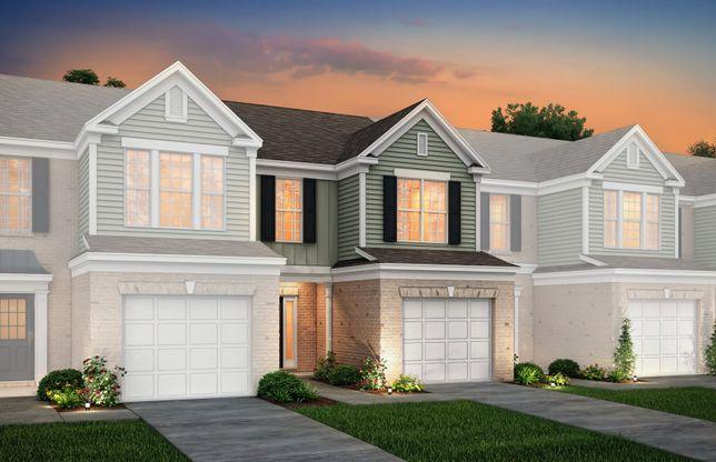 Exterior:Grisham Exterior 2 features brick, siding, covered front door and 1 car garage