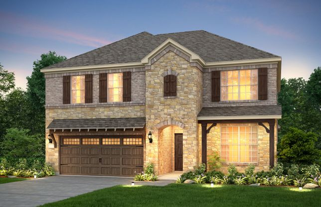 Caldwell:The Caldwell, a two-story home with covered front porch and 2-car garage, shown as Home Exterior D