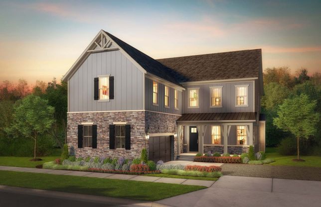 Greenview:Greenview Elevation 2 - single-family homes at Tower Oaks in Rockville, Maryland.