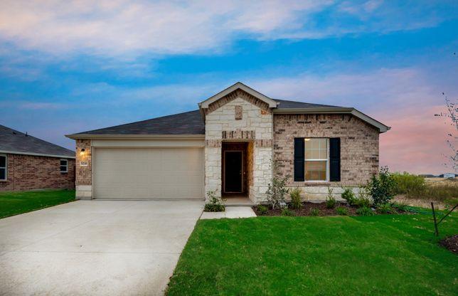 Serenada:Exterior O - The Serenada plan, a one-story home with 2-car garage