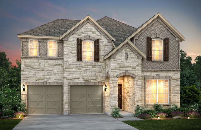 San Marcos:The San Marcos, a 2-story new construction home with shutters, shown with Home Exterior D