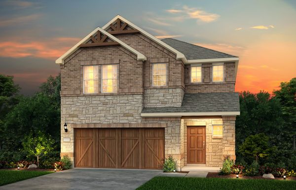 Alexander:The Alexander, a two-story home with 2-car garage, shown with Home Exterior N