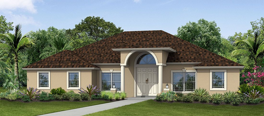 Exterior featured in the Wildflower 4/2 By RJM Homes in Palm Beach County, FL