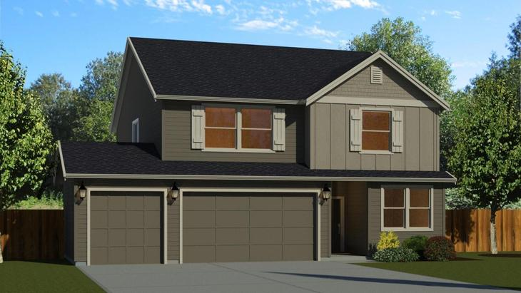 The 2366 with 3 Car Garage:Elevation A