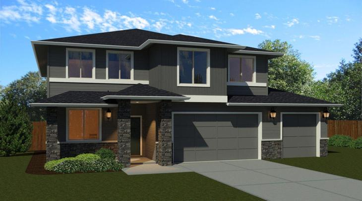 The 2628 with 3 Car Garage:Elevation A