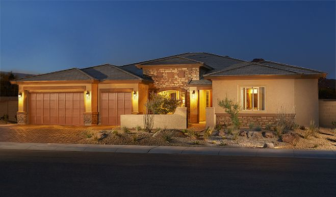 Robert-PHX-Exterior twilight (3-car garage):The Robert