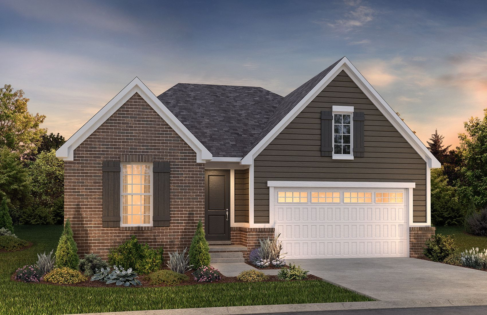 Exterior Rendering of Ranch Home:Raleigh  D