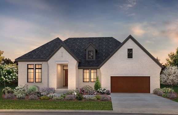 Exterior rendering of ranch home:Hickory European Transitional