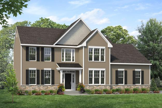 Exterior:Edgemont II shown with optional transom and metal roof at Spring Mill