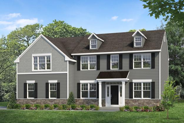 Exterior:Hawthorne II - Shown with optional dormers, transom, and metal roof at Spring Mill