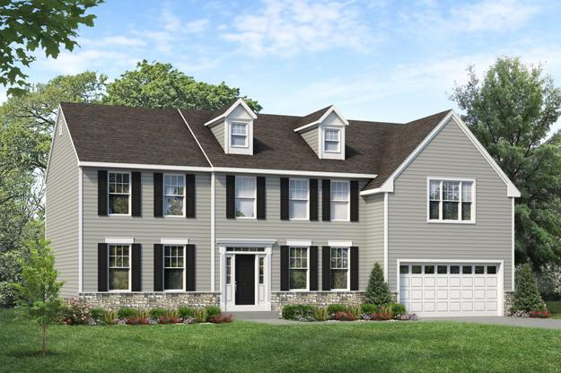 Exterior:Coventry I shown above with optional dormers, transom window and stone water table at Ridgecrest