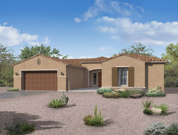 spanish exterior elevation rendering carina floor plan by william ryan homes phoenix:Carina - Spanish Exterior