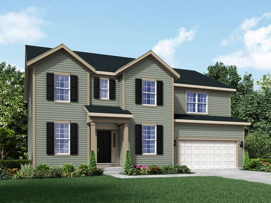 colonial exterior elevation rendering jericho II by william ryan homes:Jericho II - Colonial