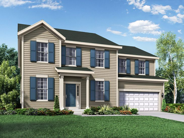 colonial exterior elevation rendering jefferson II by william ryan homes:Jefferson II - Colonial