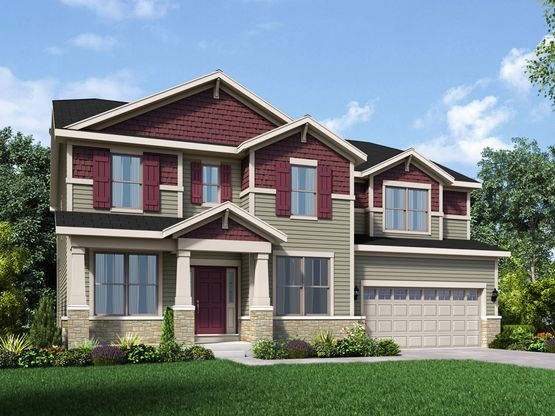 craftsman exterior elevation rendering jericho II stonebridge by william ryan homes:Jericho II - Stonebridge - Craftsman