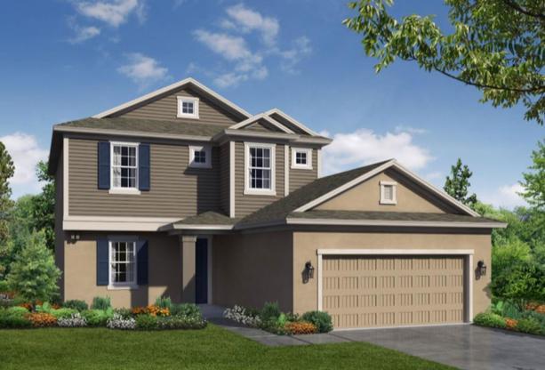 Seaside 3 car floor plan exterior rendering William Ryan Homes Tampa:Seaside Exterior Rendering