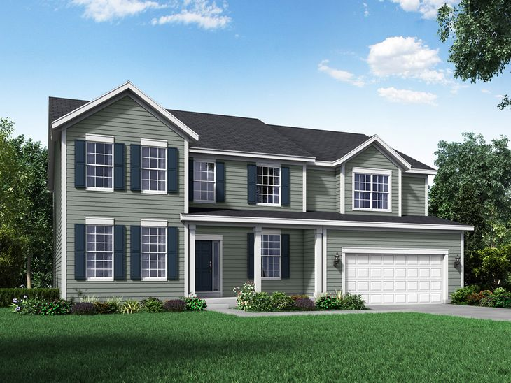 colonial exterior elevation rendering jensen II by william ryan homes:Jensen II - Colonial