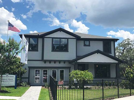 Paddock Manor Sandalwood model home front exterior new homes for sale in Riverview FL by William ...:Paddock Manor - Sandalwood Model Home - Front Exterior