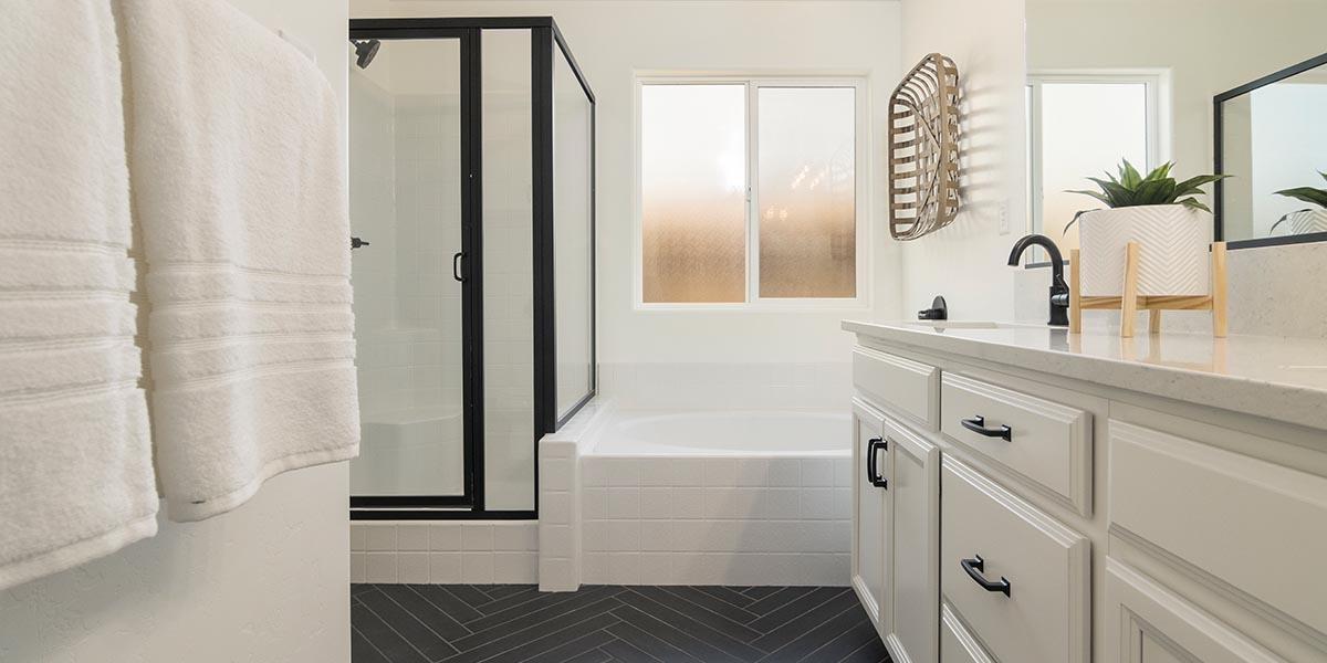 Bathroom featured in the Sedona + Studio By S & S Homes in Bakersfield, CA