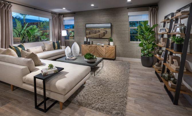 Plan 1 living room with sofa, area rug, wood floor:Plan 1: Living Room