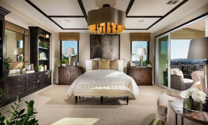 Plan 4 master bedroom with bed, chandelier, night :Plan 4: Master Bedroom