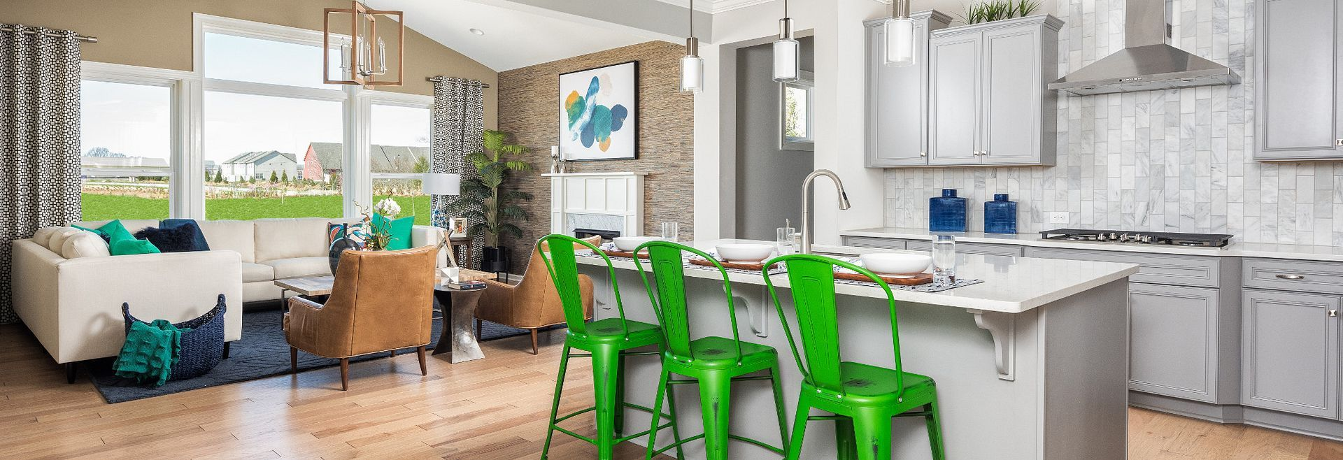 Delaney Plan Kitchen & Family Room:Delaney Model Kitchen & Family Room