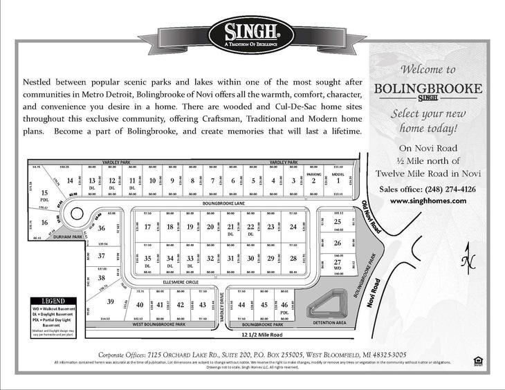 Bolingbrooke in Novi:Select Your Homesite Today!