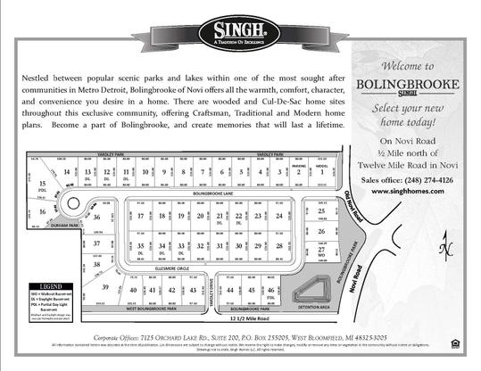 Bolingbrooke in Novi:Select Your Homesite Today!