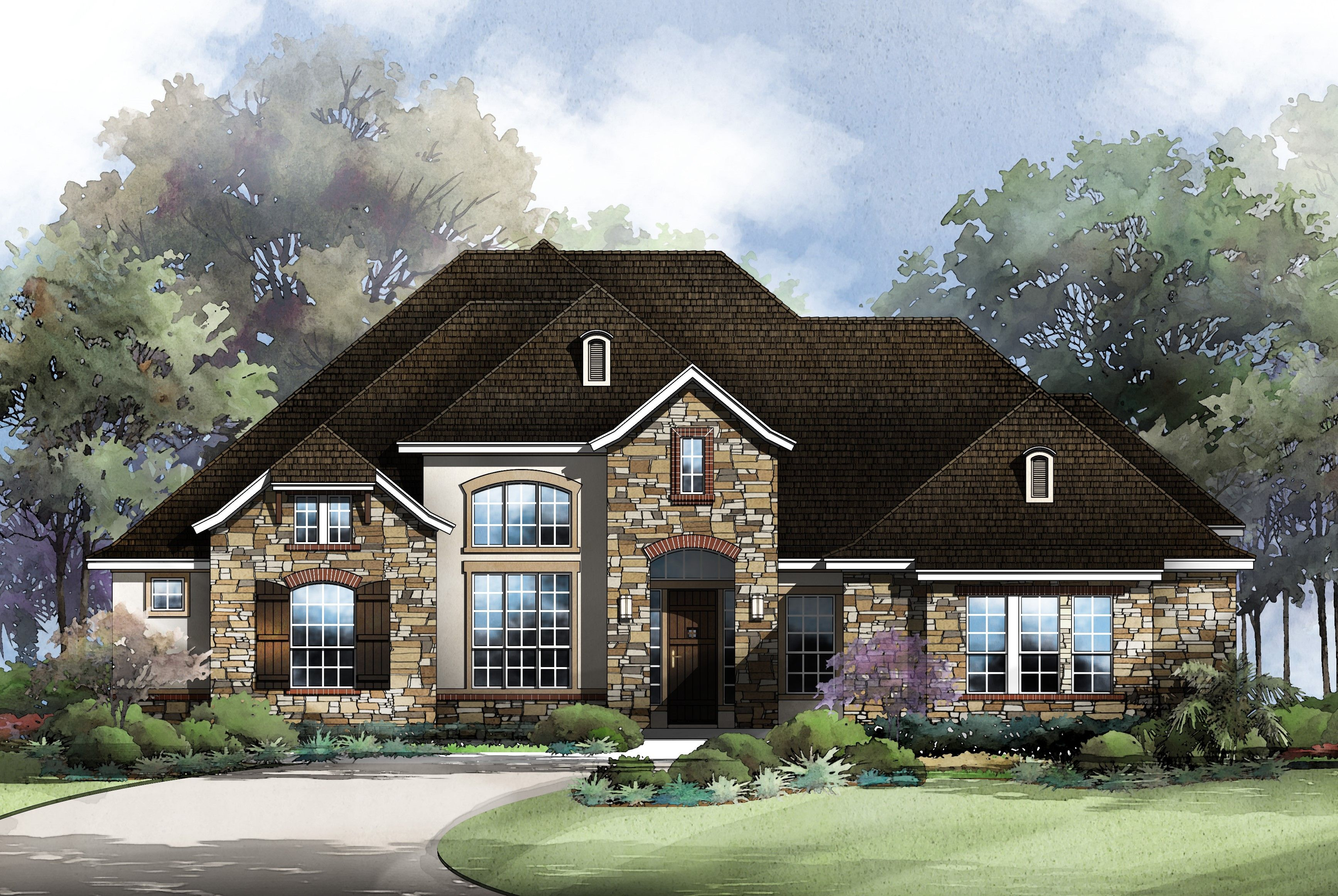 Exterior featured in the Cheyenne By Sitterle Homes in Austin, TX