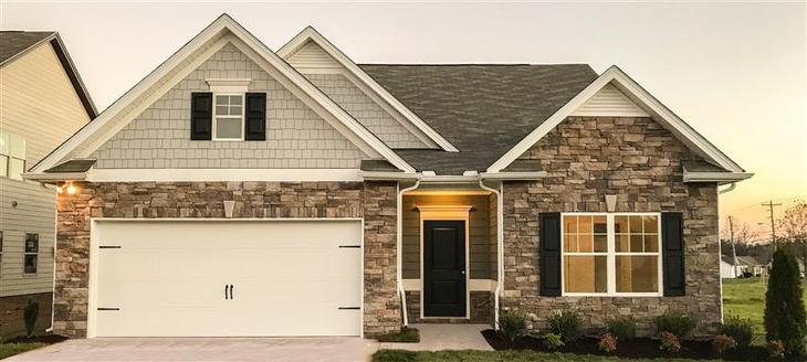 Exterior:Lanier exterior example- choice of brick or stone accents with  fiber cement siding