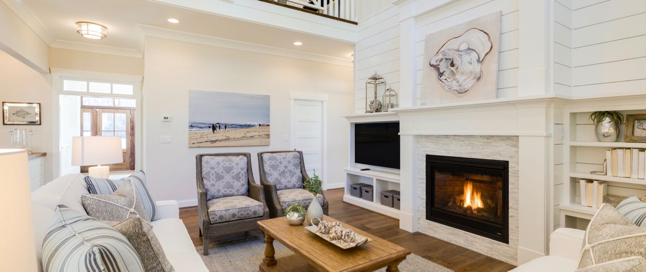 Coastal Architecture Kitchen Family Room With Shiplap