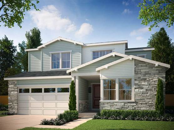 Exterior:Rendering of Residence 4009 Craftsman Style Exterior - Paint and Stone Colors will Vary