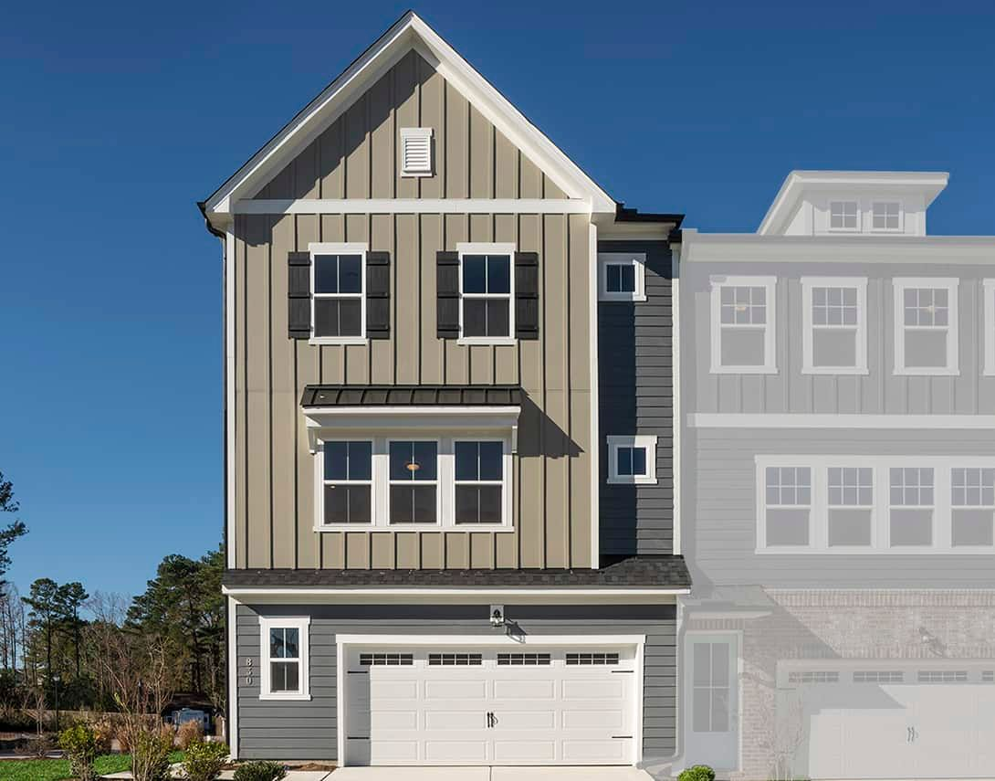 Exterior:Townes at North Salem  | Residence 3 Model Home- Exterior Elevation